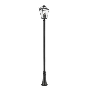Talbot Black Three-Light Outdoor Post Mounted Fixture with Transparent Bevelled Glass