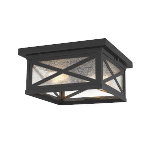 Brookside Black Two-Light Outdoor Flush Mount
