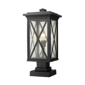 Brookside Black 21-Inch One-Light Outdoor Pier Mount