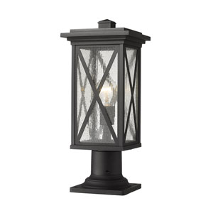 Brookside Black 19-Inch One-Light Outdoor Pier Mount