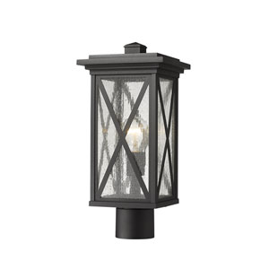 Brookside Black 17-Inch One-Light Outdoor Post Mount