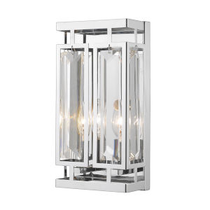 Mersesse Chrome Two-Light Bath Vanity with Rectangular Frame