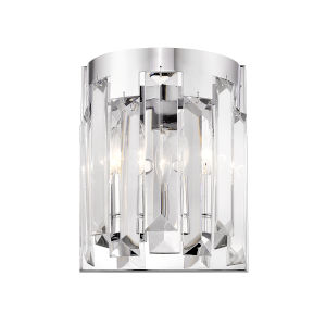 Cormac Chrome Two-Light Wall Sconce With Transparent Crystal