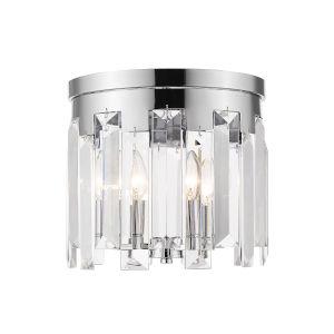 Cormac Chrome Three-Light Flush Mount With Transparent Crystal