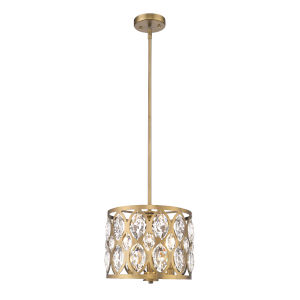 Dealey Heirloom Brass Three-Light Chandelier With Transparent Crystal