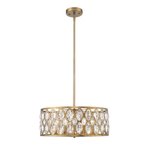 Dealey Heirloom Brass Six-Light Chandelier With Transparent Crystal