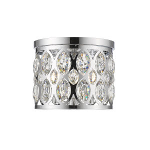 Dealey Chrome Three-Light Flush Mount With Transparent Crystal