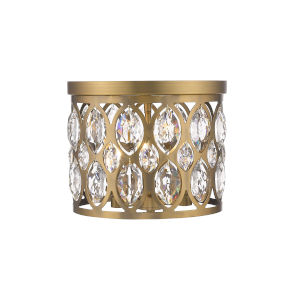 Dealey Heirloom Brass Three-Light Flush Mount With Transparent Crystal