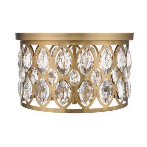 Dealey Heirloom Brass Four-Light Flush Mount With Transparent Crystal