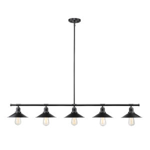 Casa Matte Black Five-Light Island Pendant