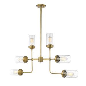 Calliope Foundry Brass Six-Light Chandelier