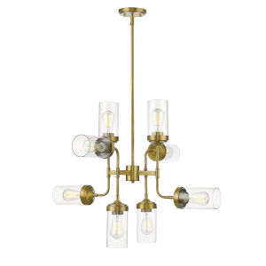 Calliope Foundry Brass Eight-Light Chandelier