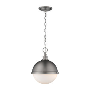 Peyton Antique Nickel Two-Light Pendant With Opal Etched Glass