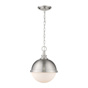 Peyton Brushed Nickel Two-Light Pendant With Opal Etched Glass