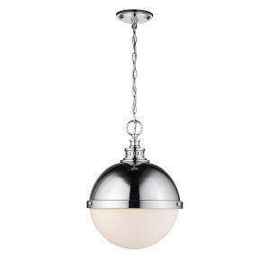 Peyton Chrome Two-Light Pendant With Opal Etched Glass
