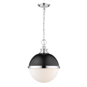 Peyton Matte Black and Chrome Two-Light Pendant With Opal Etched Glass