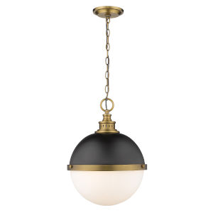 Peyton Matte Black and Factory Bronze Two-Light Pendant With Opal Etched Glass