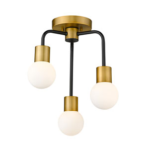 Neutra Matte Black and Foundry Brass Three-Light Semi Flush Mount