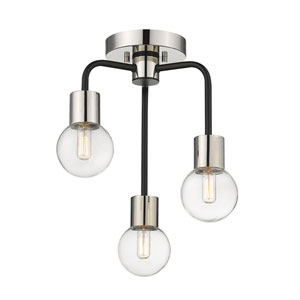 Neutra Matte Black and Polished Nickel Three-Light Semi Flush Mount