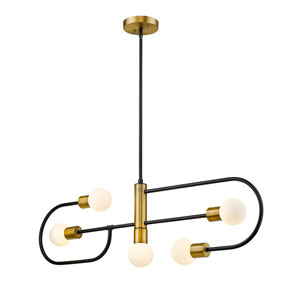 Neutra Matte Black and Foundry Brass Five-Light Island Chandelier
