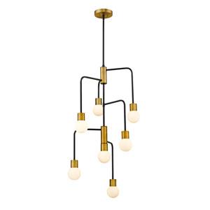 Neutra Matte Black and Foundry Brass Seven-Light Chandelier