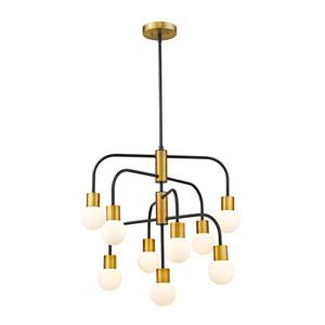 Neutra Matte Black and Foundry Brass Nine-Light Chandelier