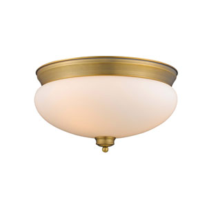 Amon Heritage Brass 15-Inch Three-Light Flush Mount with Matte Opal Glass