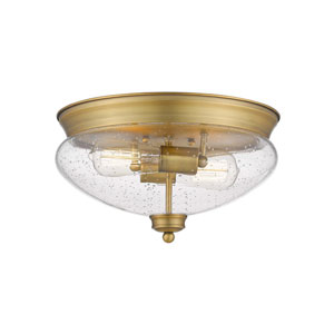 Amon Heritage Brass 13-Inch Two-Light Flush Mount with Seedy Glass