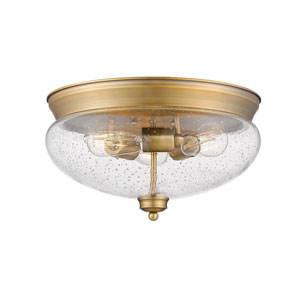 Amon Heritage Brass 15-Inch Three-Light Flush Mount with Seedy Glass