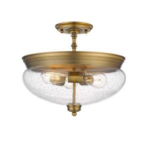 Amon Heritage Brass 15-Inch Three-Light Semi-Flush Mount with Seedy Glass