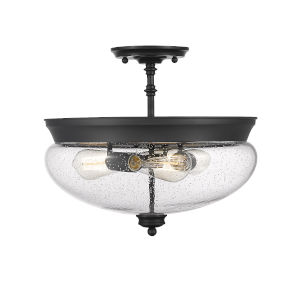 Amon Matte Black Three-Light Semi Flush Mount with Matte Opal Glass