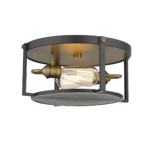 Halycon Bronze and Heritage Brass Two-Light Flush Mount