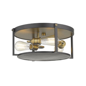 Halycon Bronze and Heritage Brass Three-Light Flush Mount