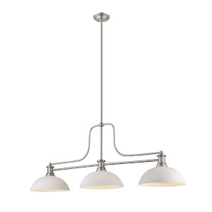 Melange Brushed Nickel Three-Light Pendant With Matte Opal Glass