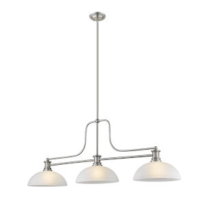 Melange Brushed Nickel Three-Light Pendant With White Linen Glass
