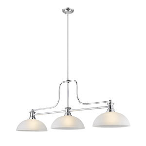Melange Chrome Three-Light Pendant With White Linen Glass