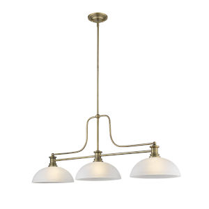 Melange Heritage Brass Three-Light Pendant With White Linen Glass