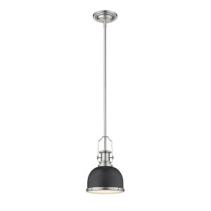 Melange Matte Black and Brushed Nickel One-Light Mini Pendant