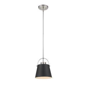 Z-Studio Matte Black and Brushed Nickel One-Light Mini Pendant
