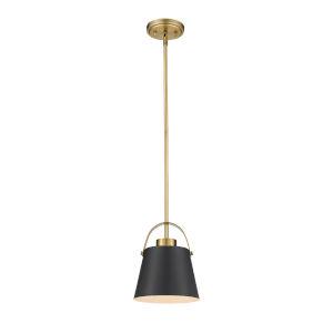 Z-Studio Matte Black and Heritage Brass One-Light Mini Pendant