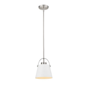 Z-Studio Matte White and Brushed Nickel One-Light Mini Pendant