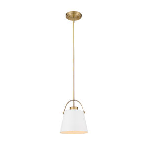 Z-Studio Matte White and Heritage Brass One-Light Mini Pendant