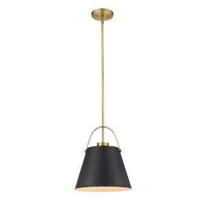 Z-Studio Matte Black and Heritage Brass One-Light Pendant