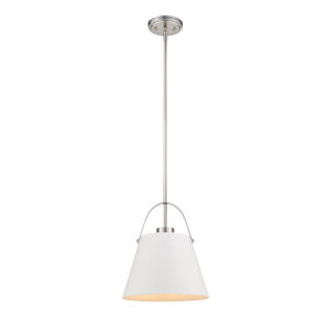 Z-Studio Matte White and Brushed Nickel One-Light Pendant