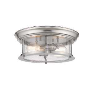 Sonna Brushed Nickel Two-Light Flush Mount with Transparent Seedy Glass