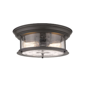 Sonna Bronze Two-Light Flush Mount with Transparent Seedy Glass