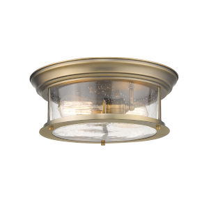 Sonna Heritage Brass Two-Light Flush Mount with Transparent Seedy Glass