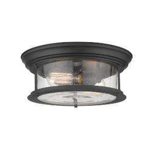 Sonna Matte Black Two-Light Flush Mount with Transparent Seedy Glass