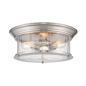 Sonna Brushed Nickel Three-Light Flush Mount with Transparent Seedy Glass