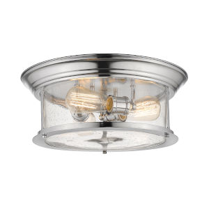 Sonna Chrome Three-Light Flush Mount with Transparent Seedy Glass